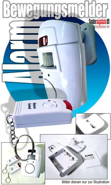 pir bewegungsmelder mit 2x fernbedienungen pir sensor alarmanlage fernbedienung ebay. Black Bedroom Furniture Sets. Home Design Ideas