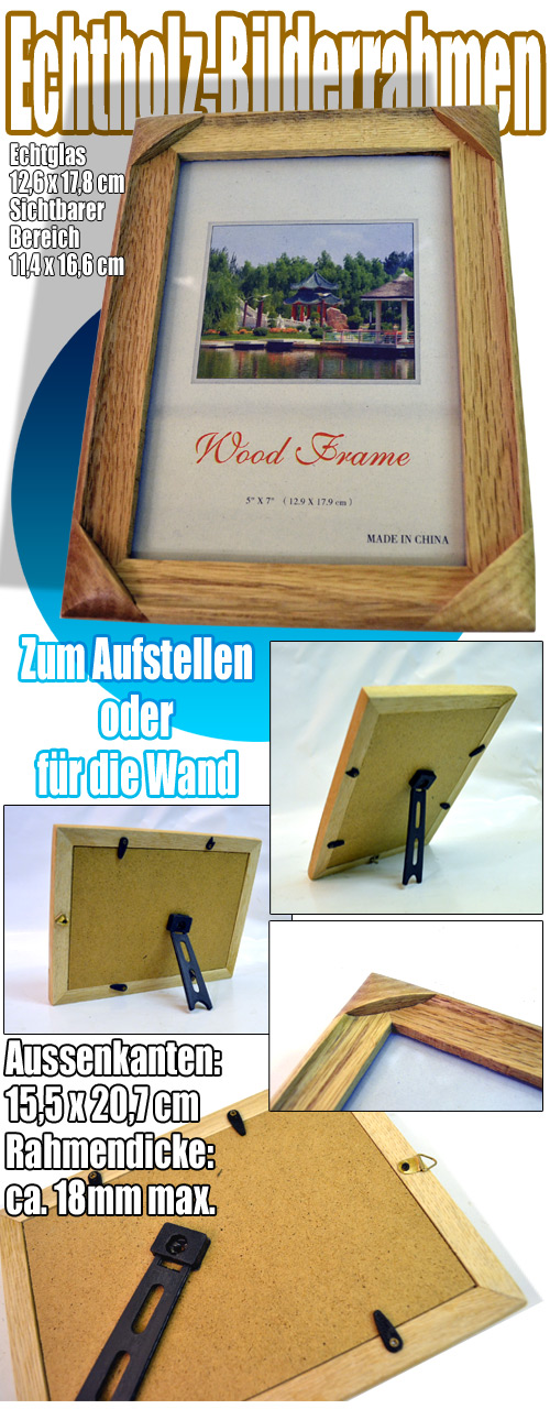 Bilderrahmen Holz Lackieren ~ Holz Bilderrahmen Foto Glas 15,5 x 20,7 Bild innen 11,4 x 16,6