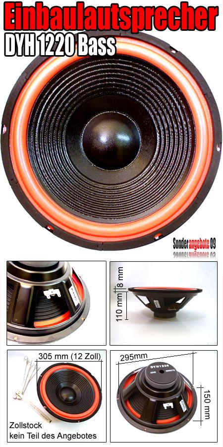 einbau subwoofer 30 cm bass subwoofer lautsprecher dyh 1220 woofer auto box 12. Black Bedroom Furniture Sets. Home Design Ideas