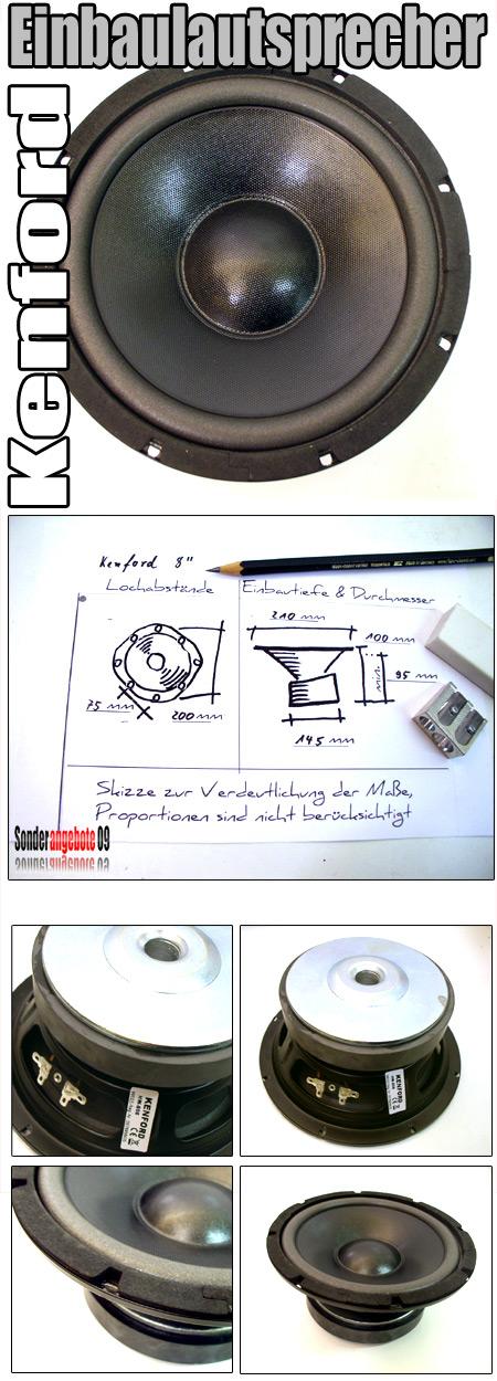 200 mm pa bass subwoofer tieft ner lautsprecher box kenford hw 806 8 hifi neu ebay. Black Bedroom Furniture Sets. Home Design Ideas