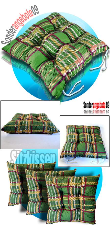 sitzkissen stuhlauflage gartenkissen kissen stuhlkissen auflage gr n karromuster ebay. Black Bedroom Furniture Sets. Home Design Ideas