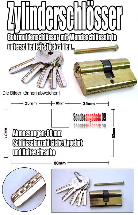 60mm zylinderschloss 5 bohrmulden sicherheit schl ssel ebay. Black Bedroom Furniture Sets. Home Design Ideas
